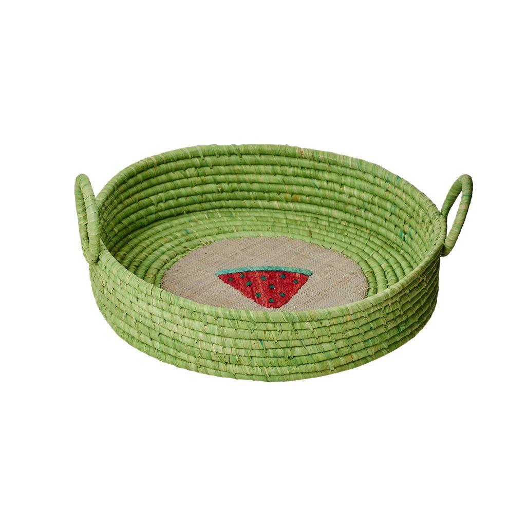 Rice | raffia fruitmand | groen met watermeloen