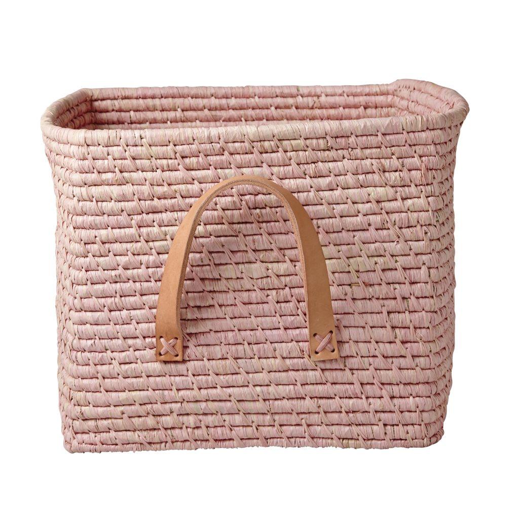 Rice | raffia opbergmand roze