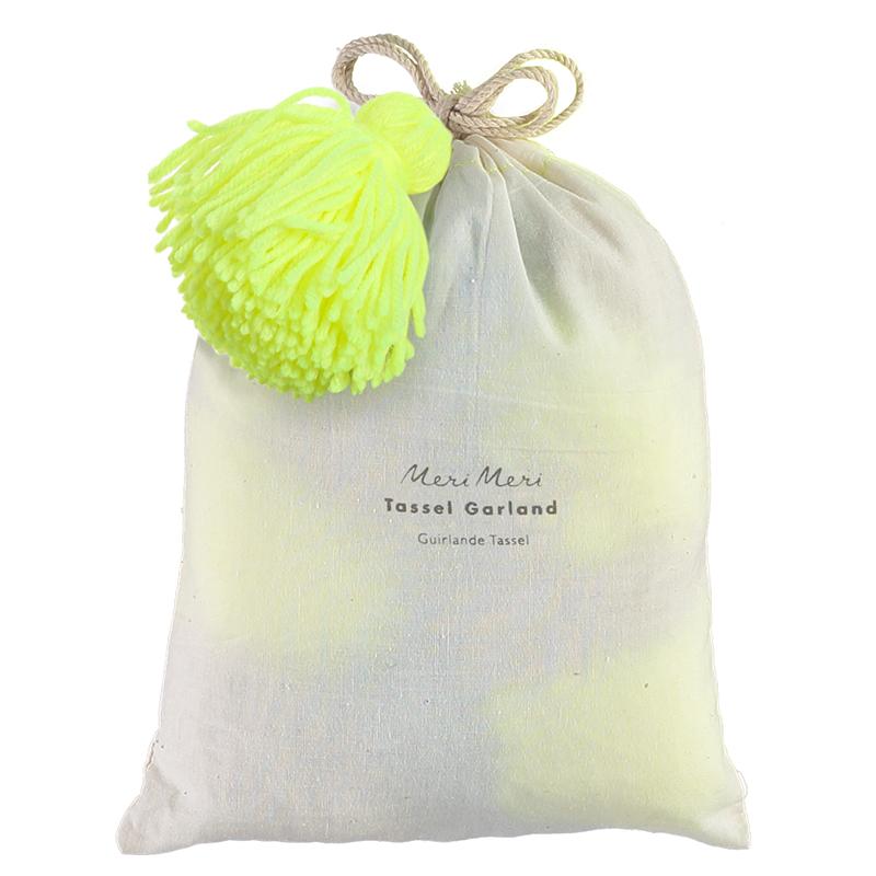 Meri Meri   slinger wollen kwast neon geel