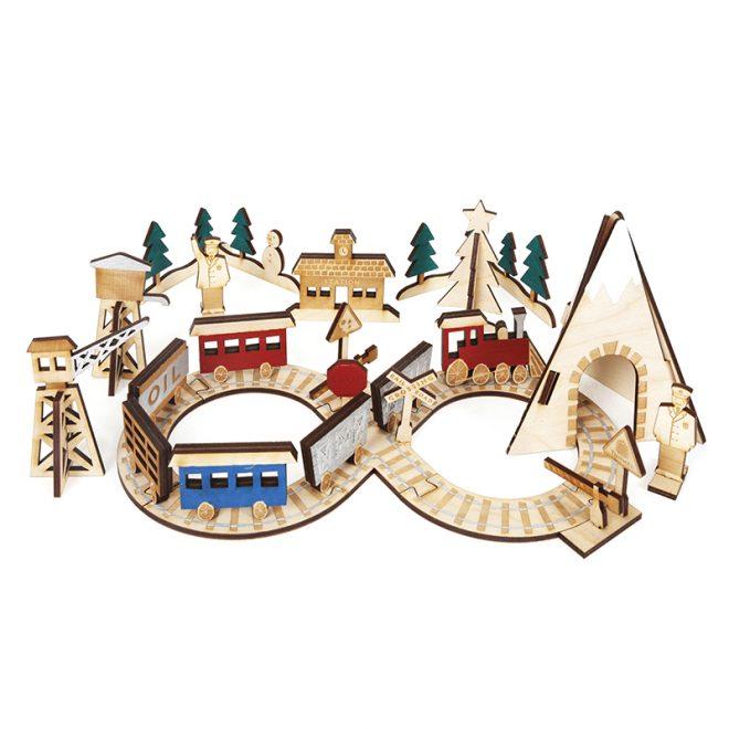 Meri Meri Adventskalender treinstation hout