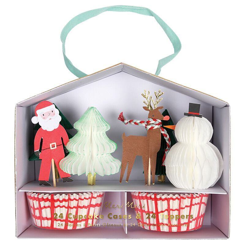 Meri Meri Honeycomb kerst cupcake set