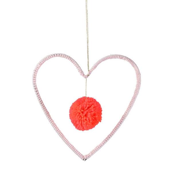 Meri Meri hart met pompom mobiel